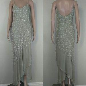 [Sue Wong] Green Silk Beaded Maxi Dress